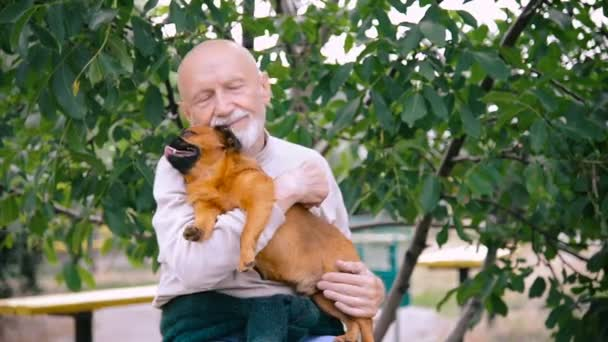Grandfather with a dog of the Griffon breed