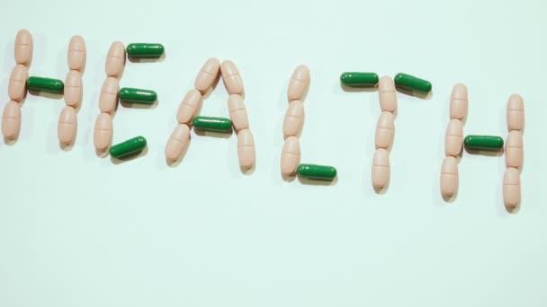 Pillen. Tabletten im Wort Gesundheit