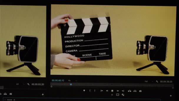 Editing video program. On the editing video program, mounts the video.