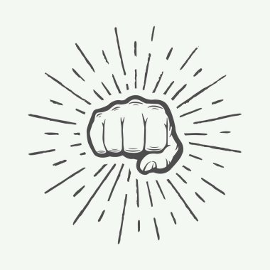 Fist with sunbursts in vintage style. Graphic art.