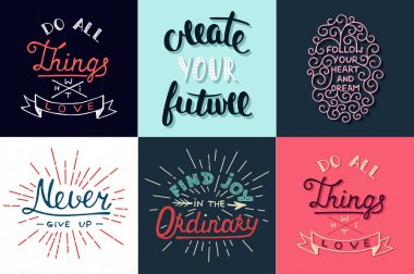 Set of motivational and inspirational vector hand drawn unique typography greeting cards, decoration, template, prints, banners and posters.