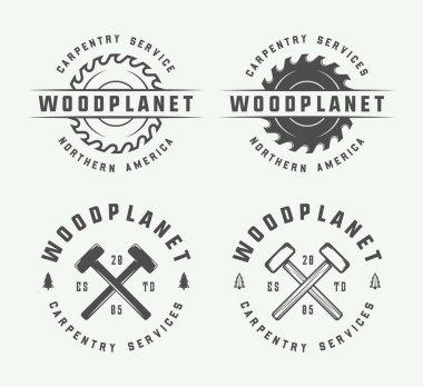 Set of vintage carpentry, woodwork and mechanic labels, badges