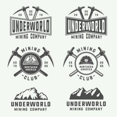 Set of retro mining or construction logos, badges, emblems
