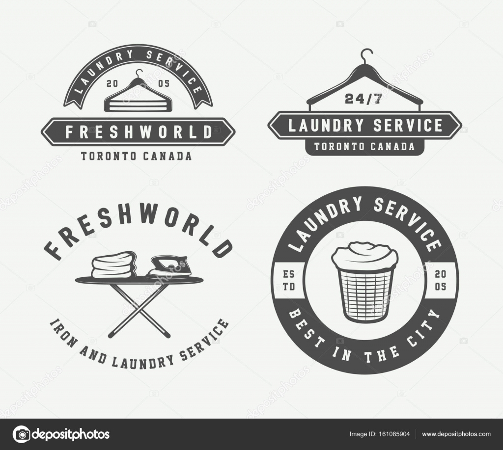 Set Of Vintage Laundry Cleaning Or Iron Service Logos Emblems Stock Vector