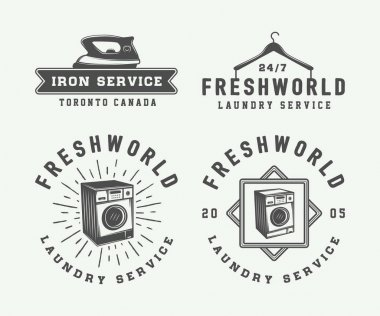 Set of vintage laundry, cleaning or iron service logos, emblems, badges and design elements. Monochrome Graphic Art. Vector Illustration. clip art vector