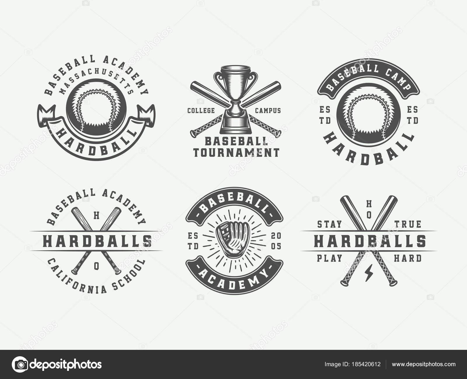 Logos sport baseball vintage emblmes insignes marques logos sport baseball vintage emblmes insignes marques labels art graphique monochrome illustration vectorielle vecteur par demalia thecheapjerseys Images