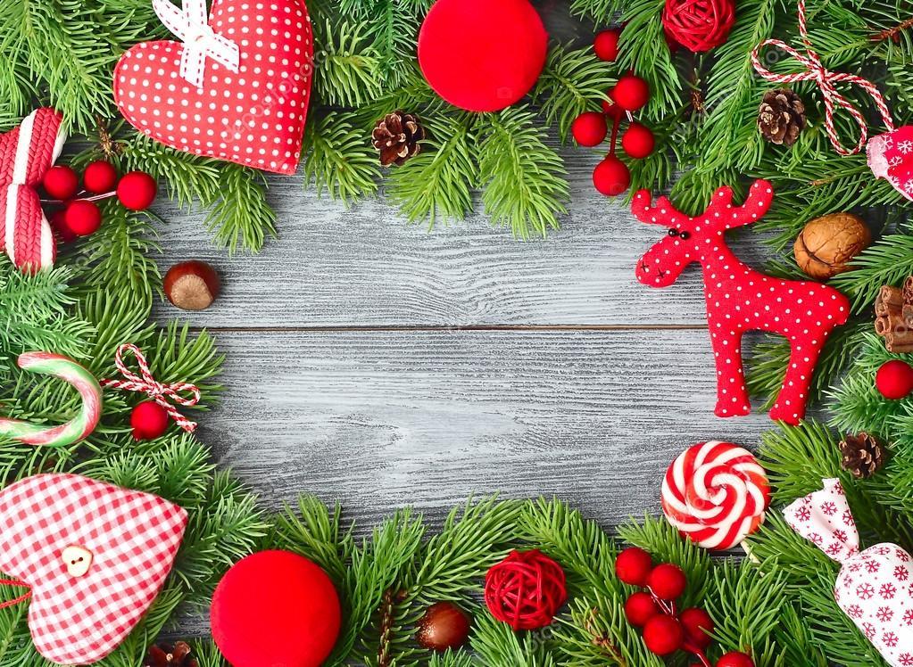 Weihnachten-Rahmen mit Textil Weihnachtsbaum Dekoration auf einem ...
