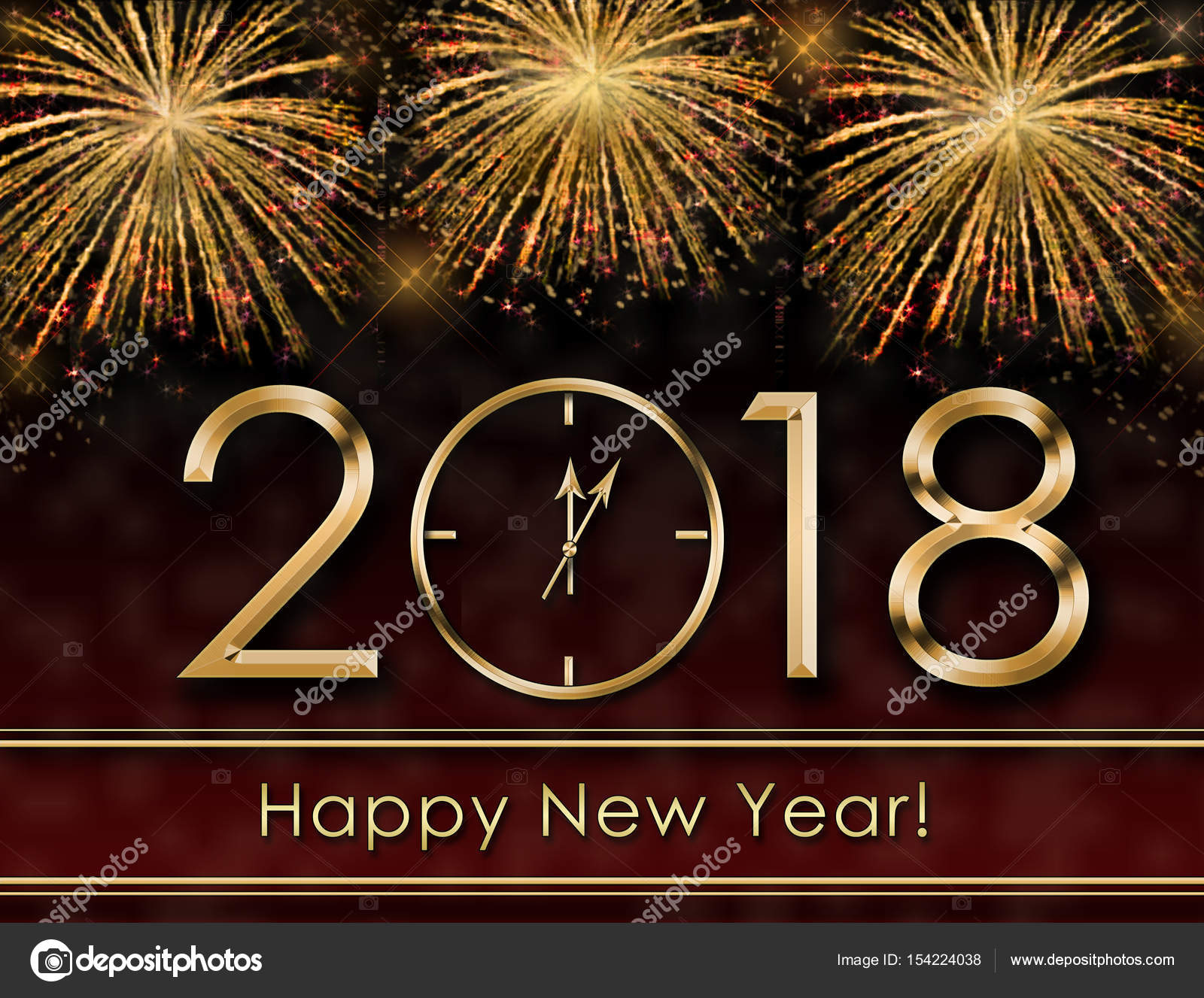 2018 happy new year background with fireworks and gold clock photo by syhinstas