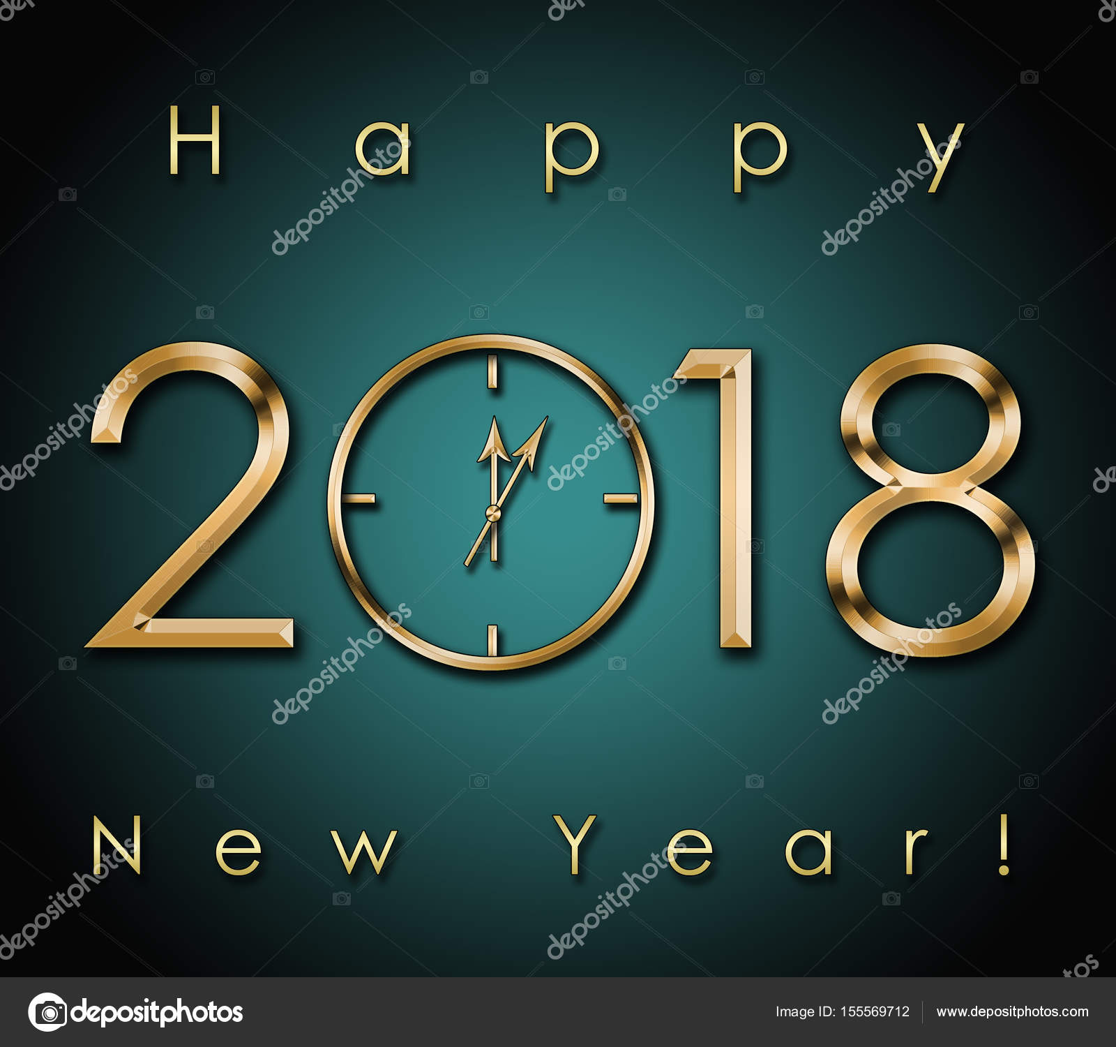 2018 happy new year background with gold clock photo by syhinstas