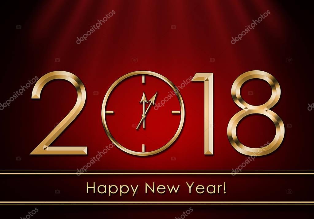 Happy New Year 2018. New Year Clock