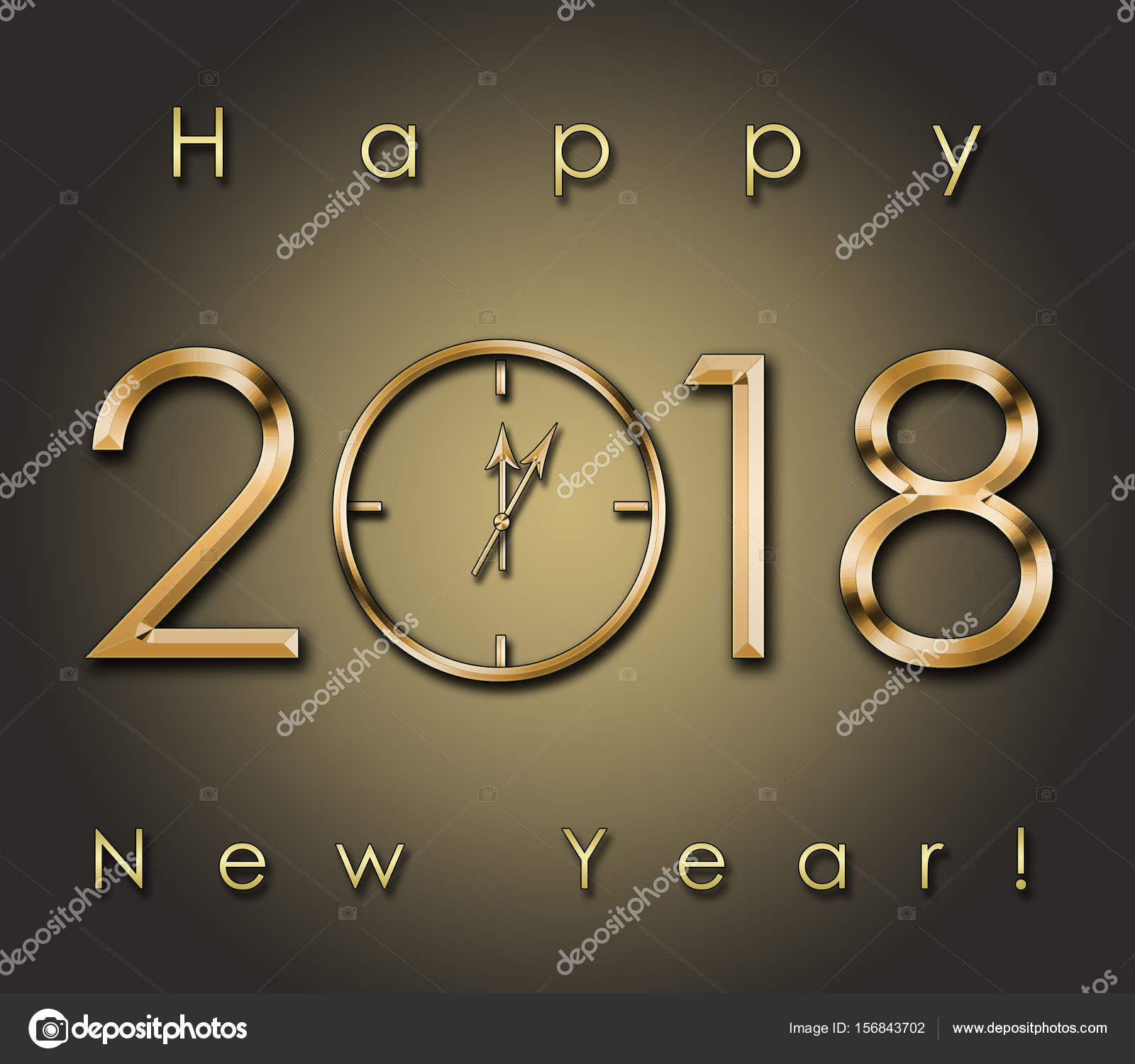 2018 Happy New Year background with gold clock — Stock Photo