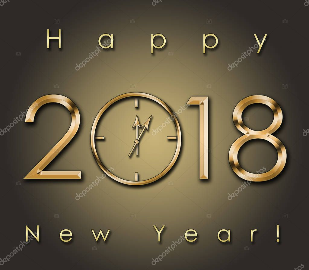 2018 Happy New Year background with gold clock