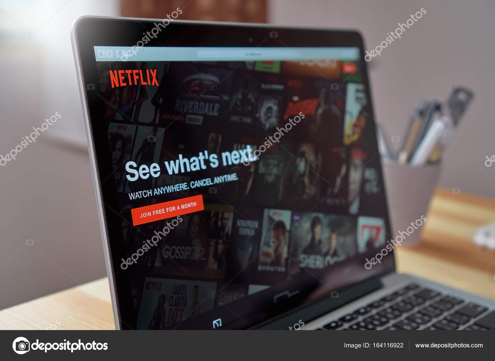 Bangkok, Thailand - August 23, 2017 : Netflix app on Laptop