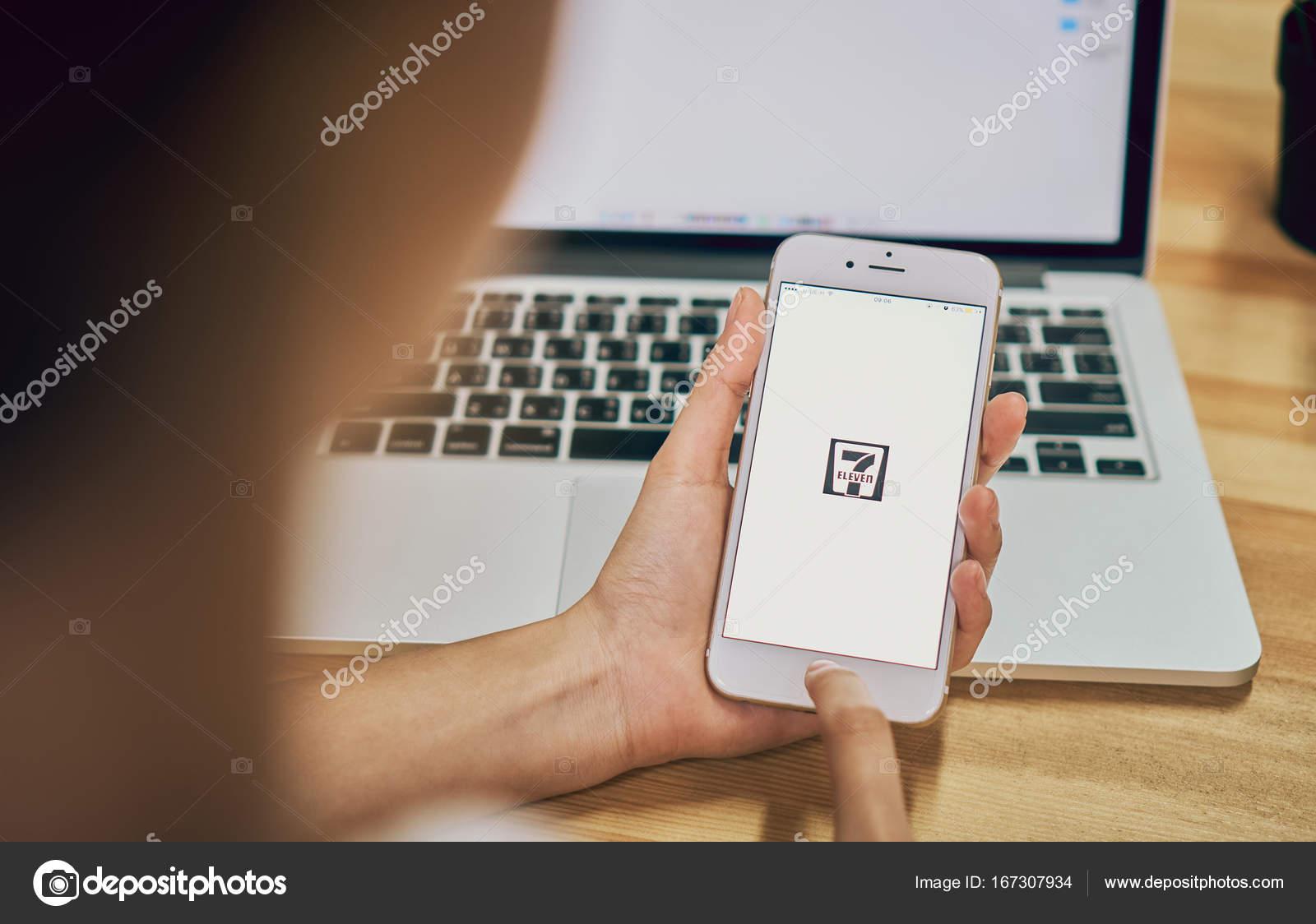 Bangkok, Thailand - September 25, 2017 : Woman holding phone