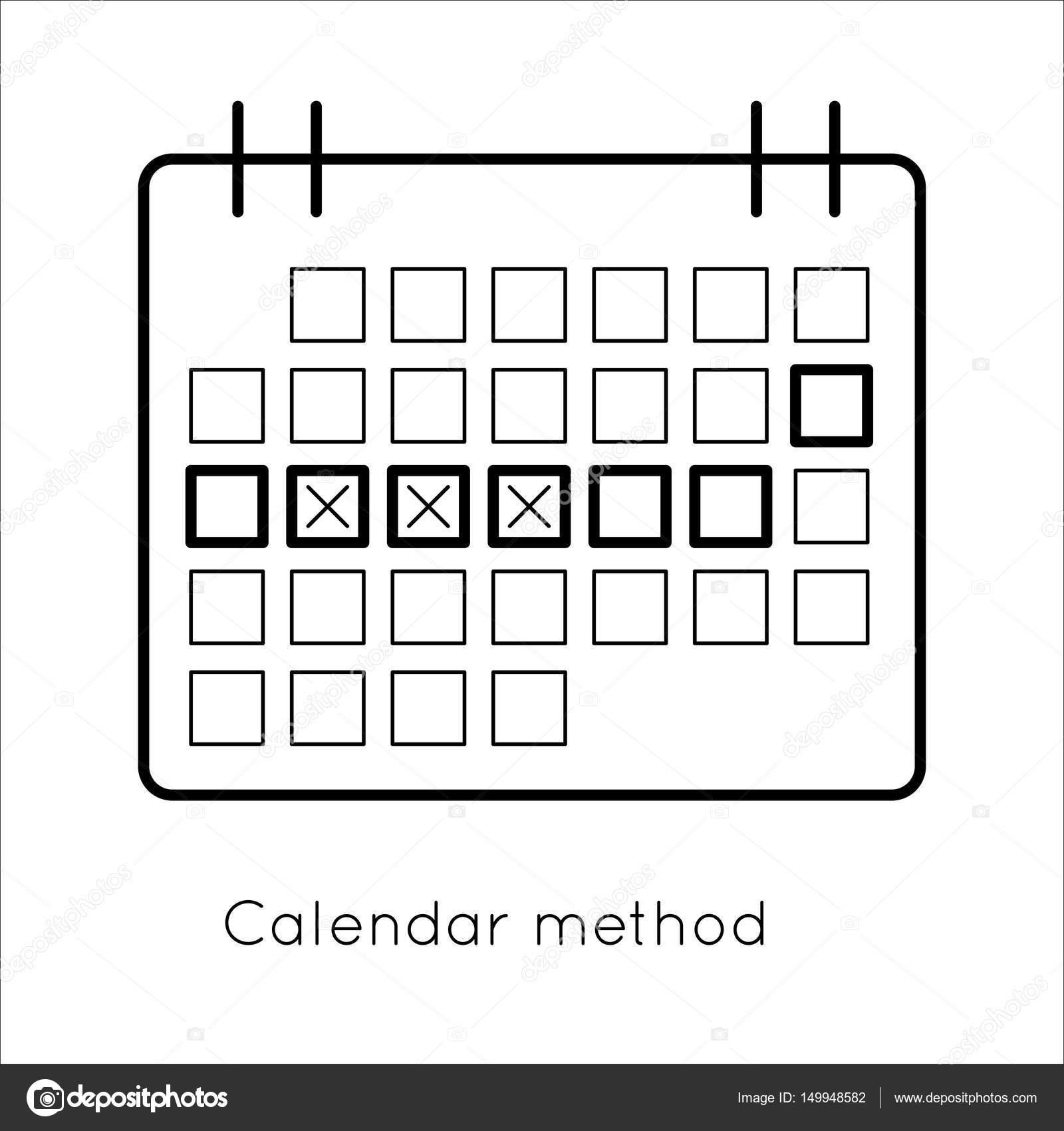 Metodo Del Calendario.Metodo Di Contraccezione Calendario Di Ovulazione Vettoriali