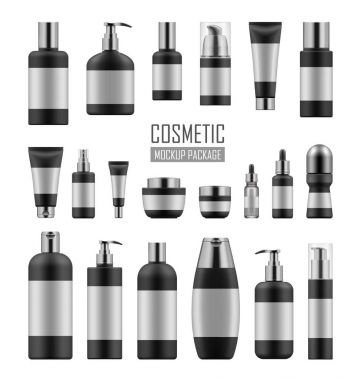Black and silver cosmetic packages