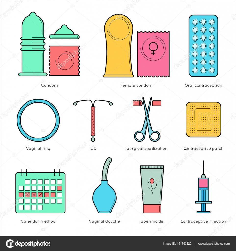 c9fe42a26 Iconos de vector de línea plana anticonceptivos. Planificación del embarazo  y control de la natalidad. Métodos de anticoncepción - condón