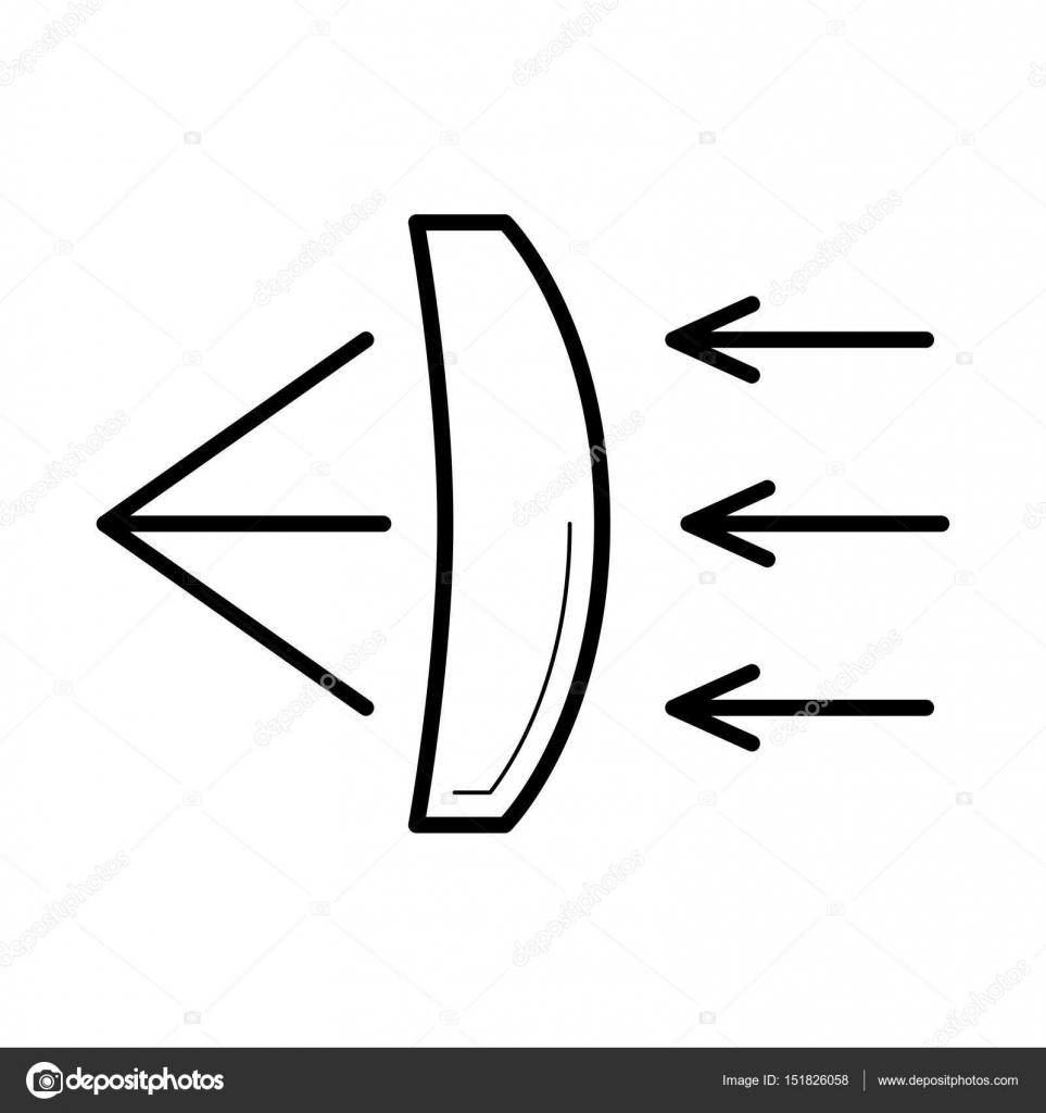 Brechung des Lichts durch ein Glas Linse Symbol, Vektor-illustration ...