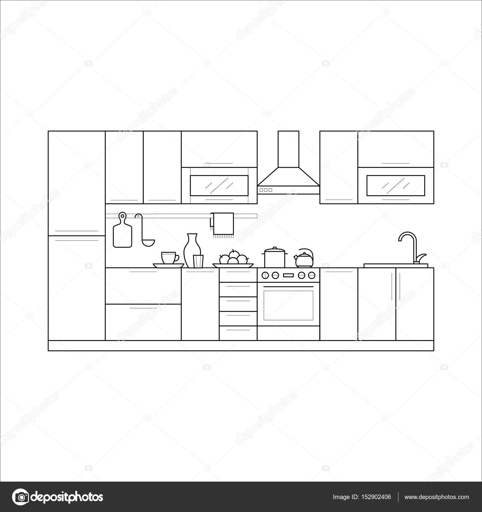 Küchenmöbel in dünne Linie — Stockvektor © nastya-mal #152902406