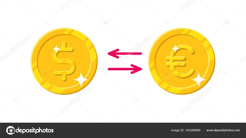 Cambio De Estilo De Dibujos Animados De Euro Dólar