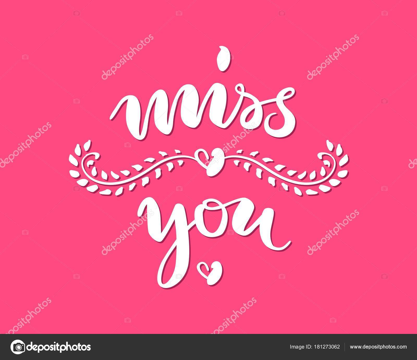 Hand drawn lettering miss you pink background stock vector hand drawn lettering miss you pink background greeting inscription on st valentines day text on theme of love and feelings for print postcards m4hsunfo