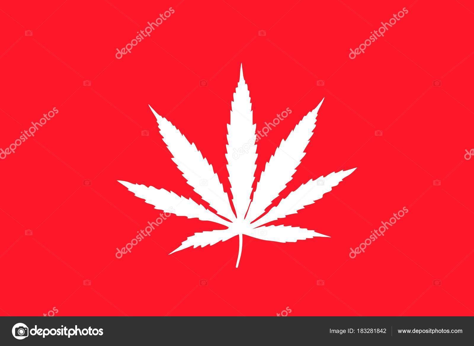 Foglia Di Cannabis Bianco Su Sfondo Rosso Bandiera Icona Piana