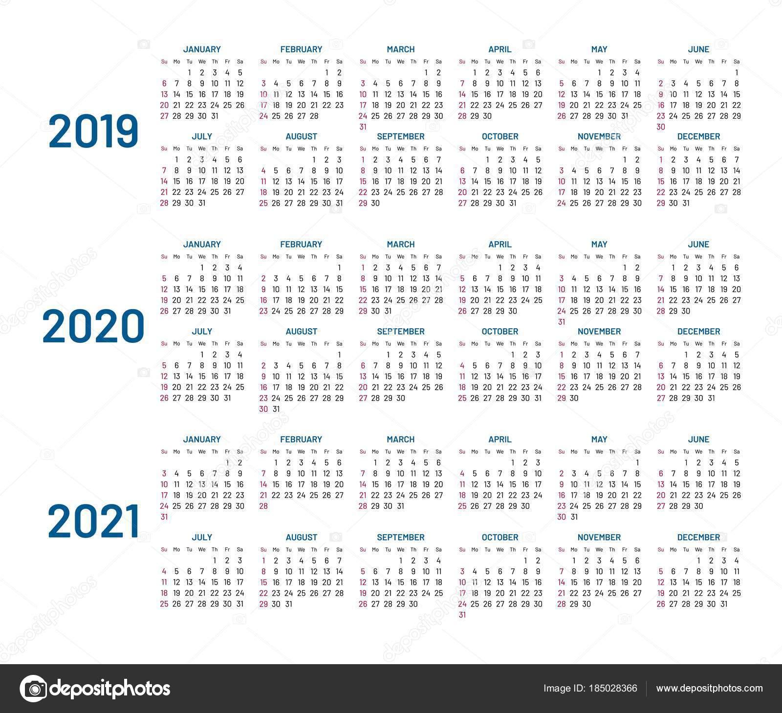 Calendario Dezembro 2019 Janeiro 2020.Calendario De Tres Anos 2019 2020 2021 Isolado Plano