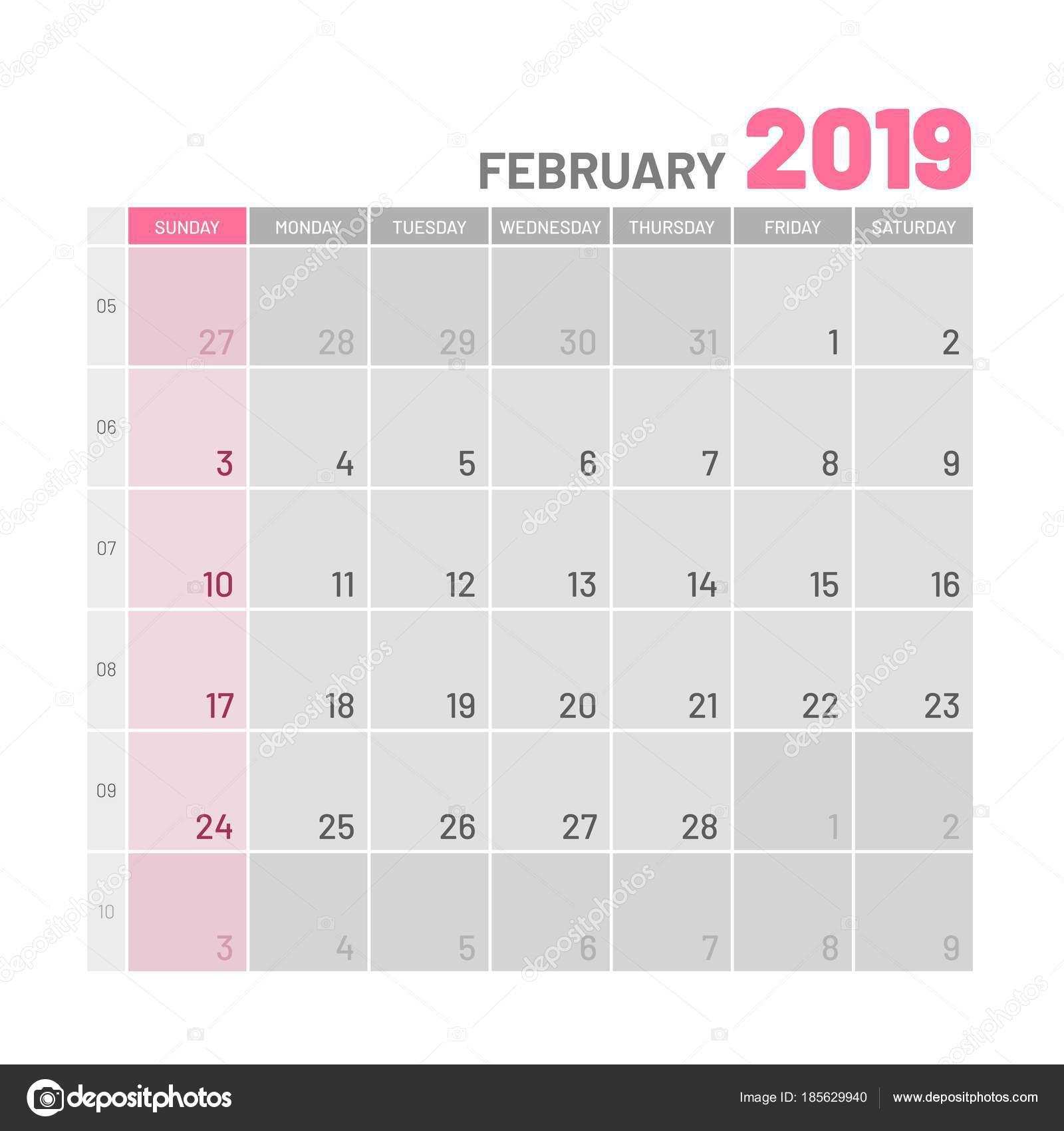 2019 februári naptár Praktikus világos színű tervező, 2019 február, lapos — Stock  2019 februári naptár