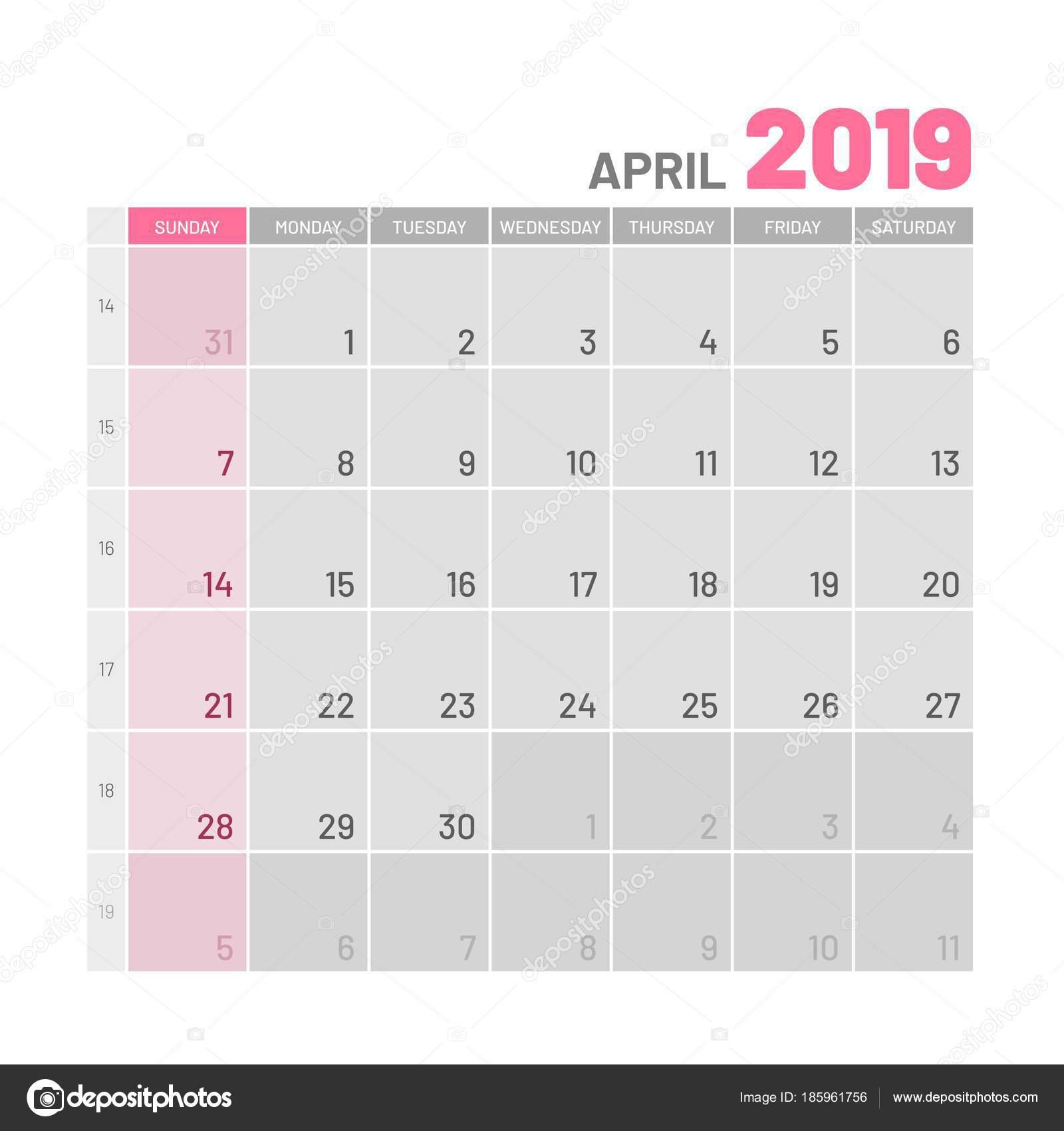 2019 áprilisi naptár Praktikus világos színű tervező, 2019, április, lapos — Stock  2019 áprilisi naptár