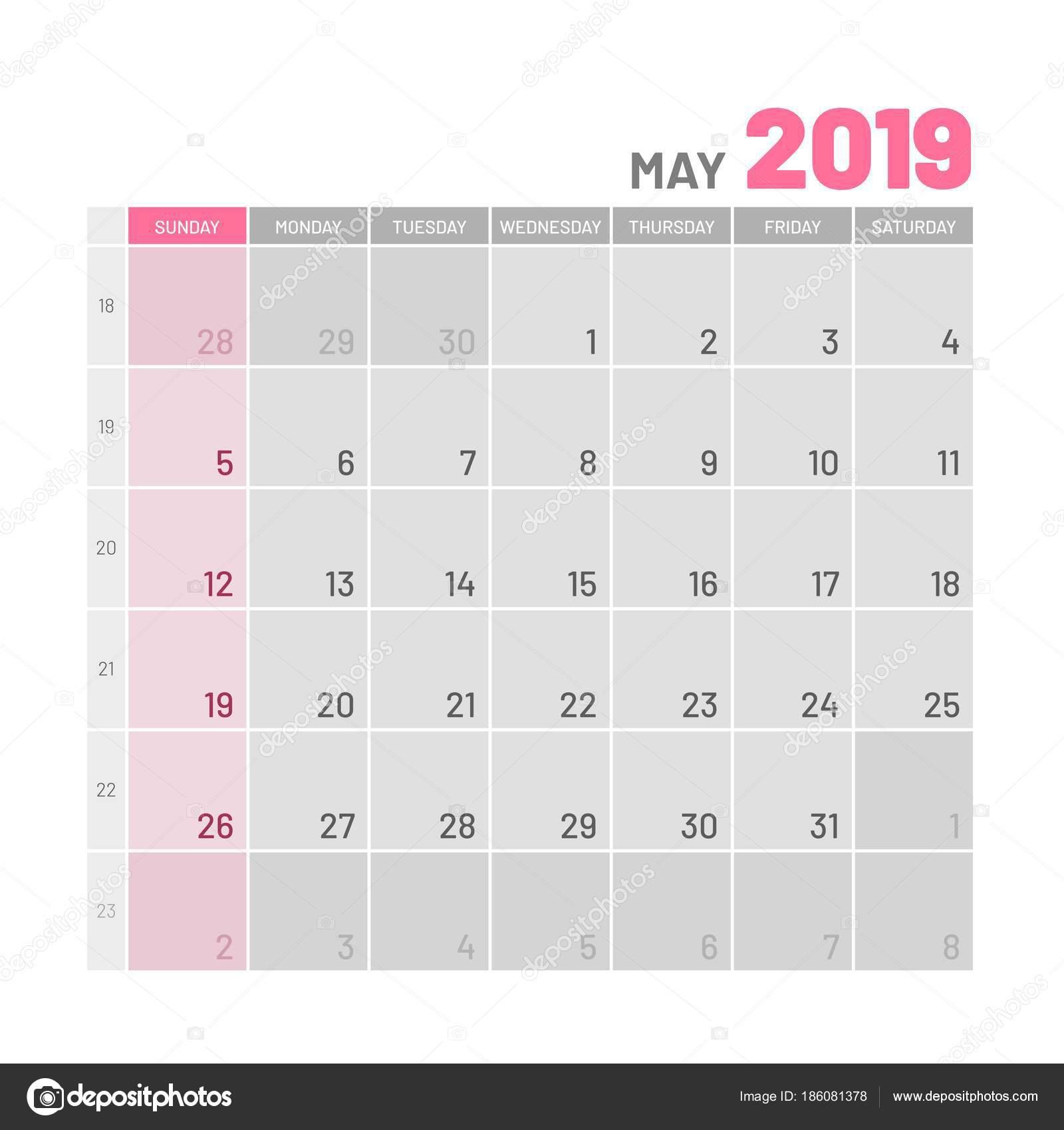 Calendario Appunti 2019.Pratica Luce Color Planner 2019 Puo Piatto Vettoriali