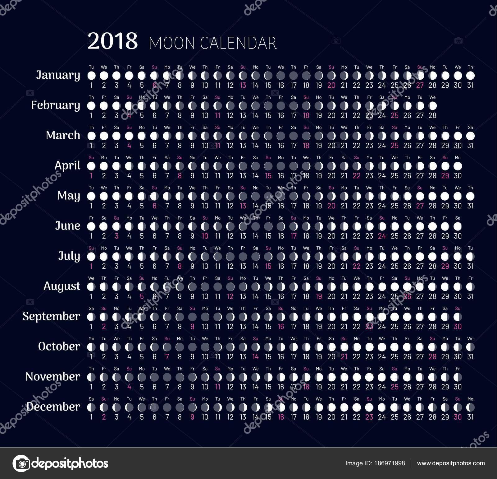 Calendario Lune.Calendario Lunare 2018 Anno In Stile Piano Vettoriali