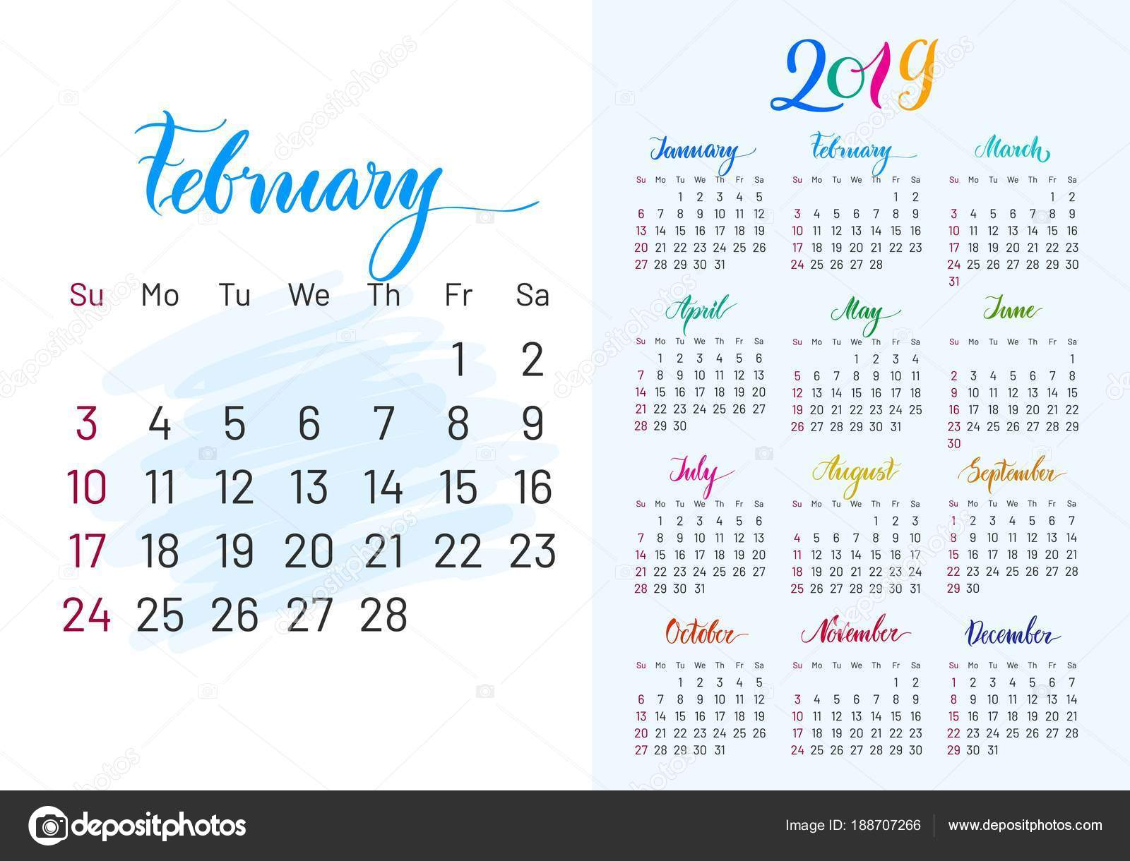 naptár 2019 dec Colorful planner, 2019, february separately — Stock Vector  naptár 2019 dec
