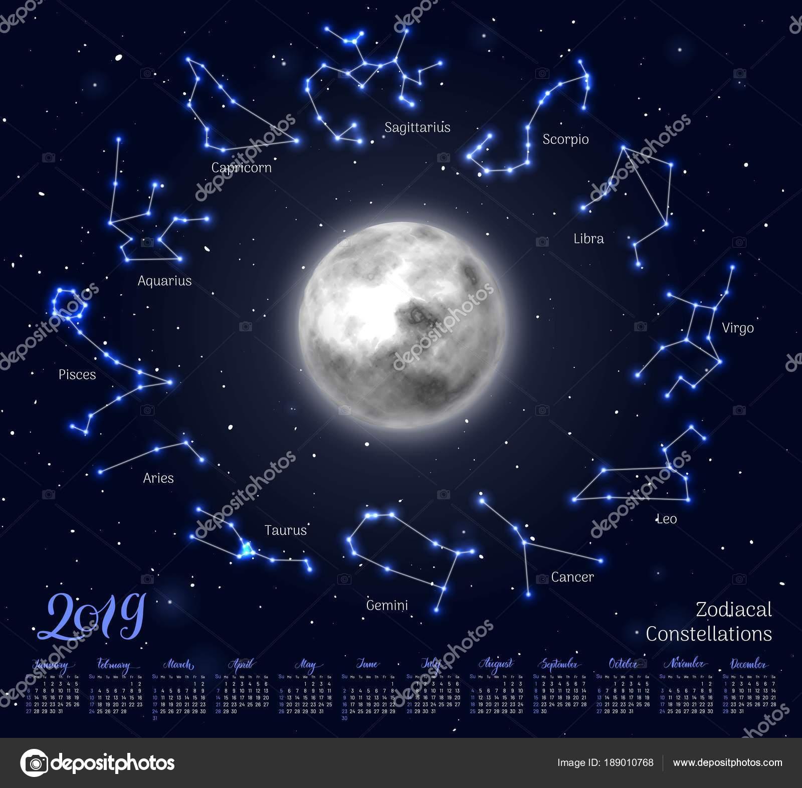 Calendario Zodiacal.Calendario Luna Constelaciones Del Zodiaco 2019 Fondo Del Cielo