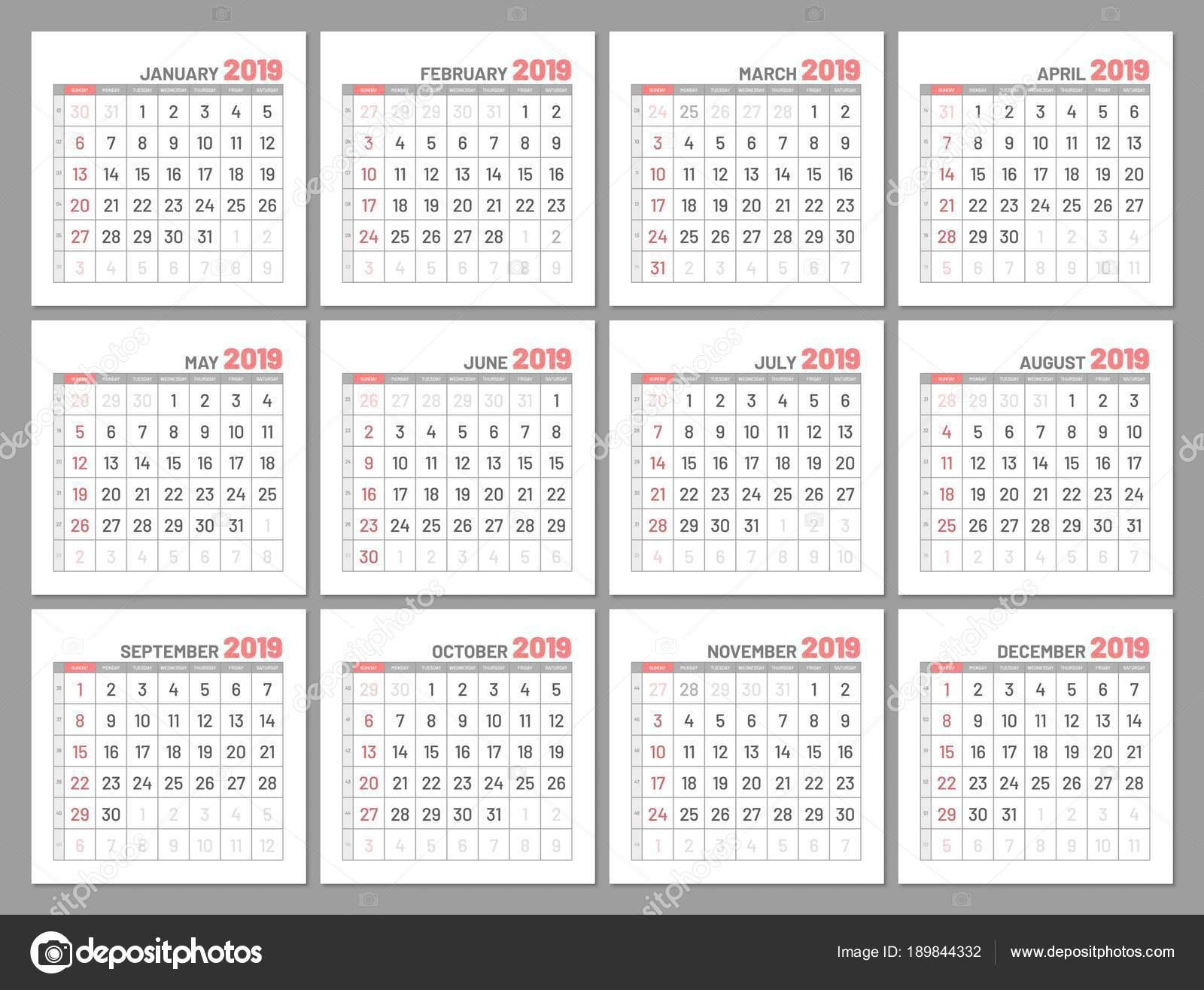 Mini Calendario.Set Identical Light Mini Calendars 2019 Months Flat