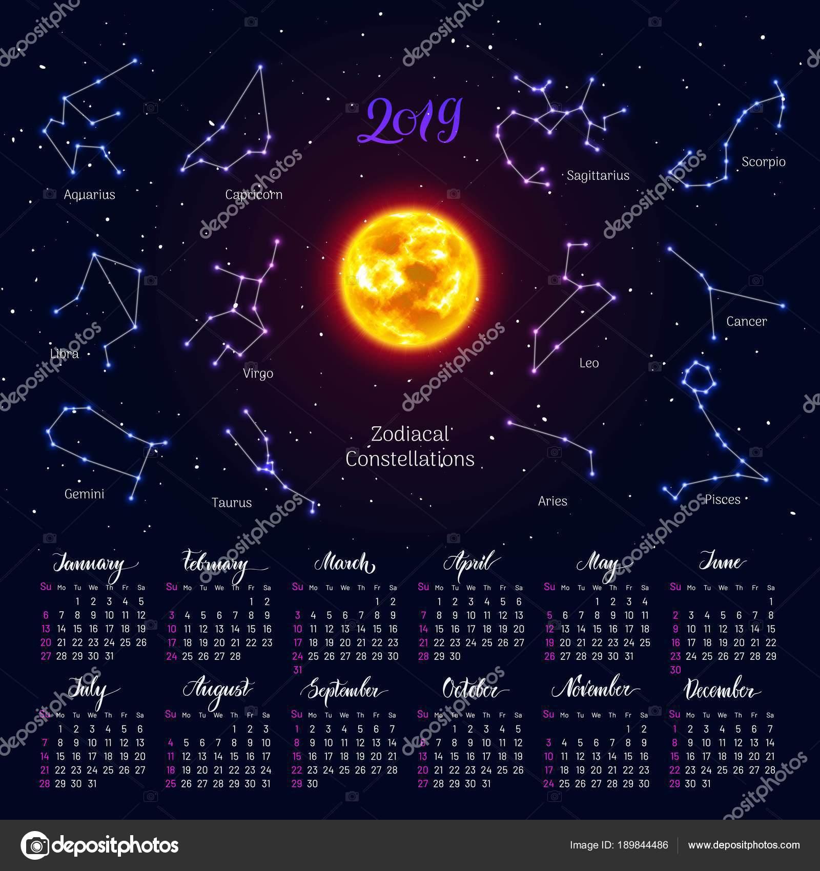 Zodiac Calendar 2019 Calendar, sun, zodiac signs, 2019, night sky background, lettering