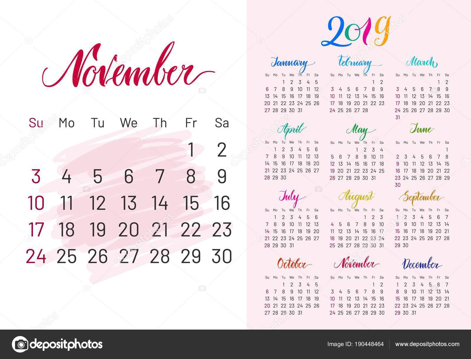 Calendario 2019 Moderno.Fotografie Calendario 2019 Lettering Calendario 2019