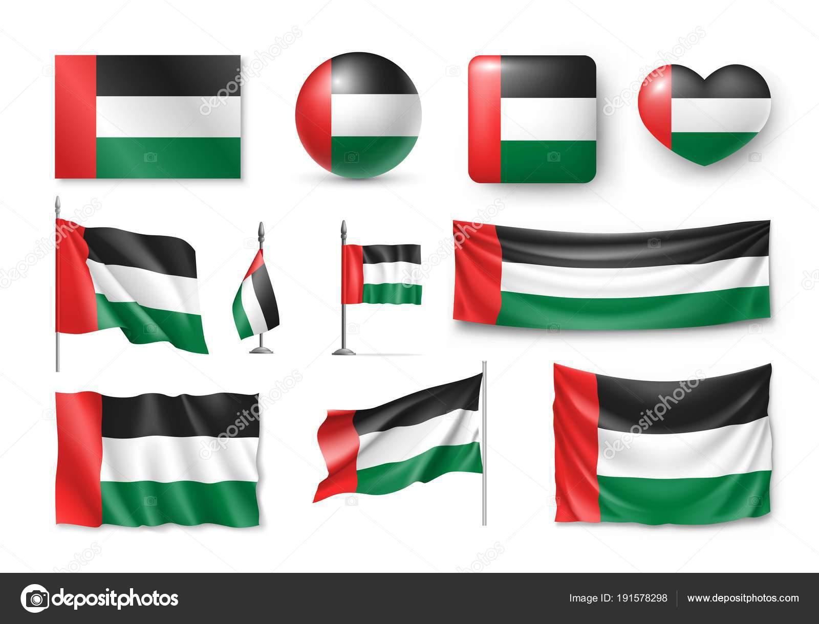 Set United Arab Emirates Flags Banners Banners Symbols Flat Icon