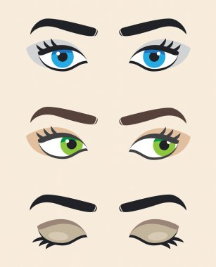 Eye vector at different positions. Beautiful female eye. Eyes looking straight, right , eyes closed.