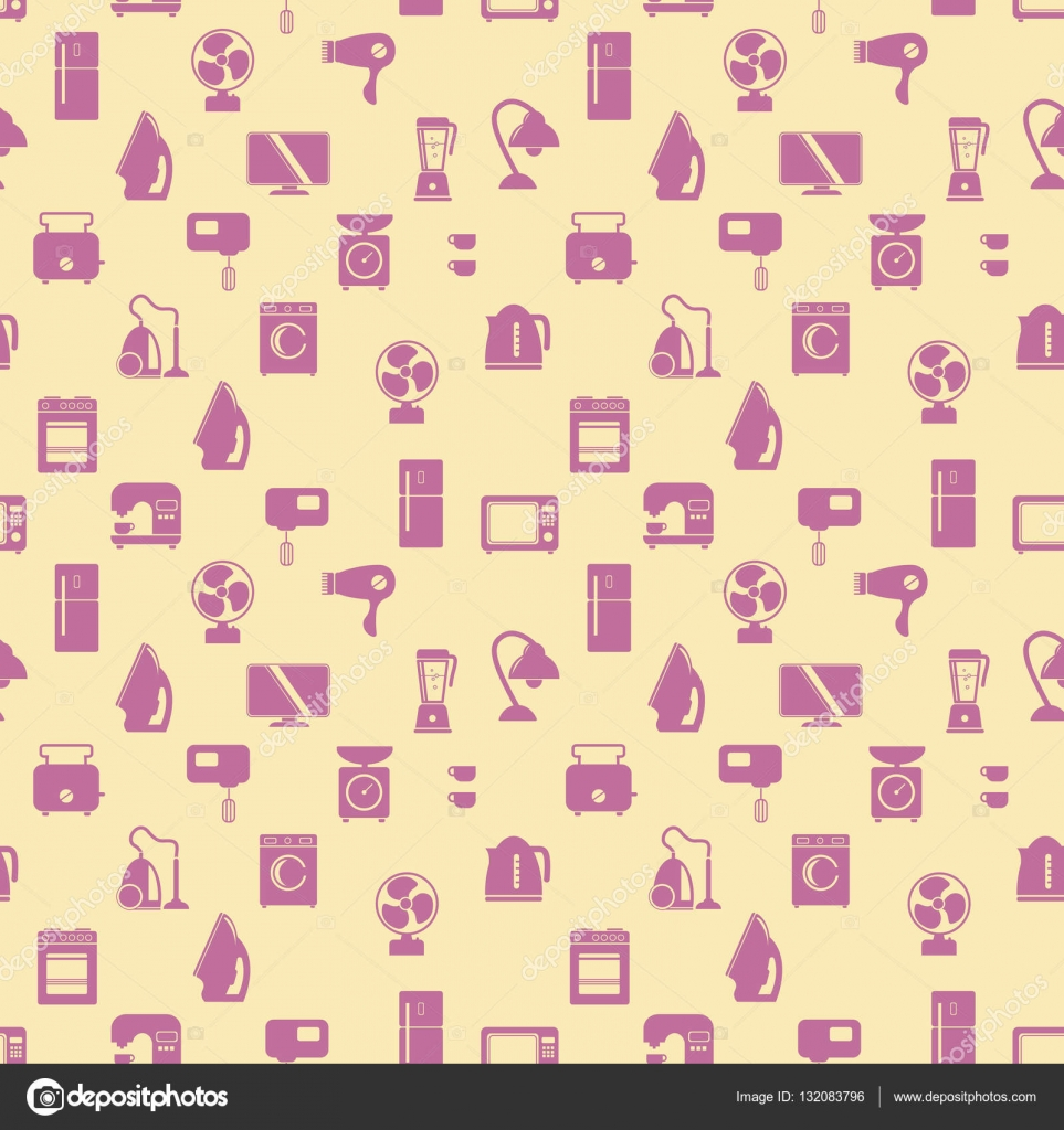 Nahtlose Muster von Haushaltsgeräten. Wasch-Maschine, Herd ...