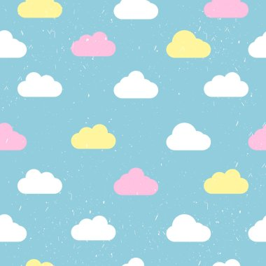 Seamless pattern with clouds on a blue background