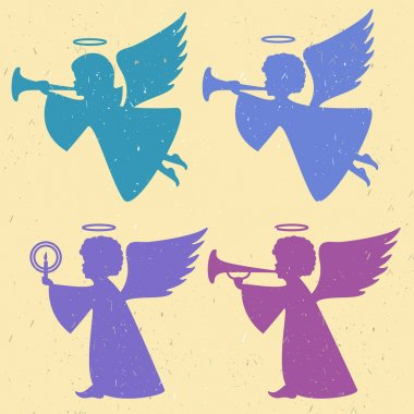 silhouettes of angels on a light background
