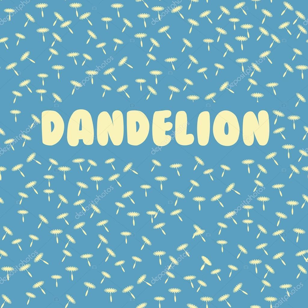 seamless dandelion pattern  on a blue background