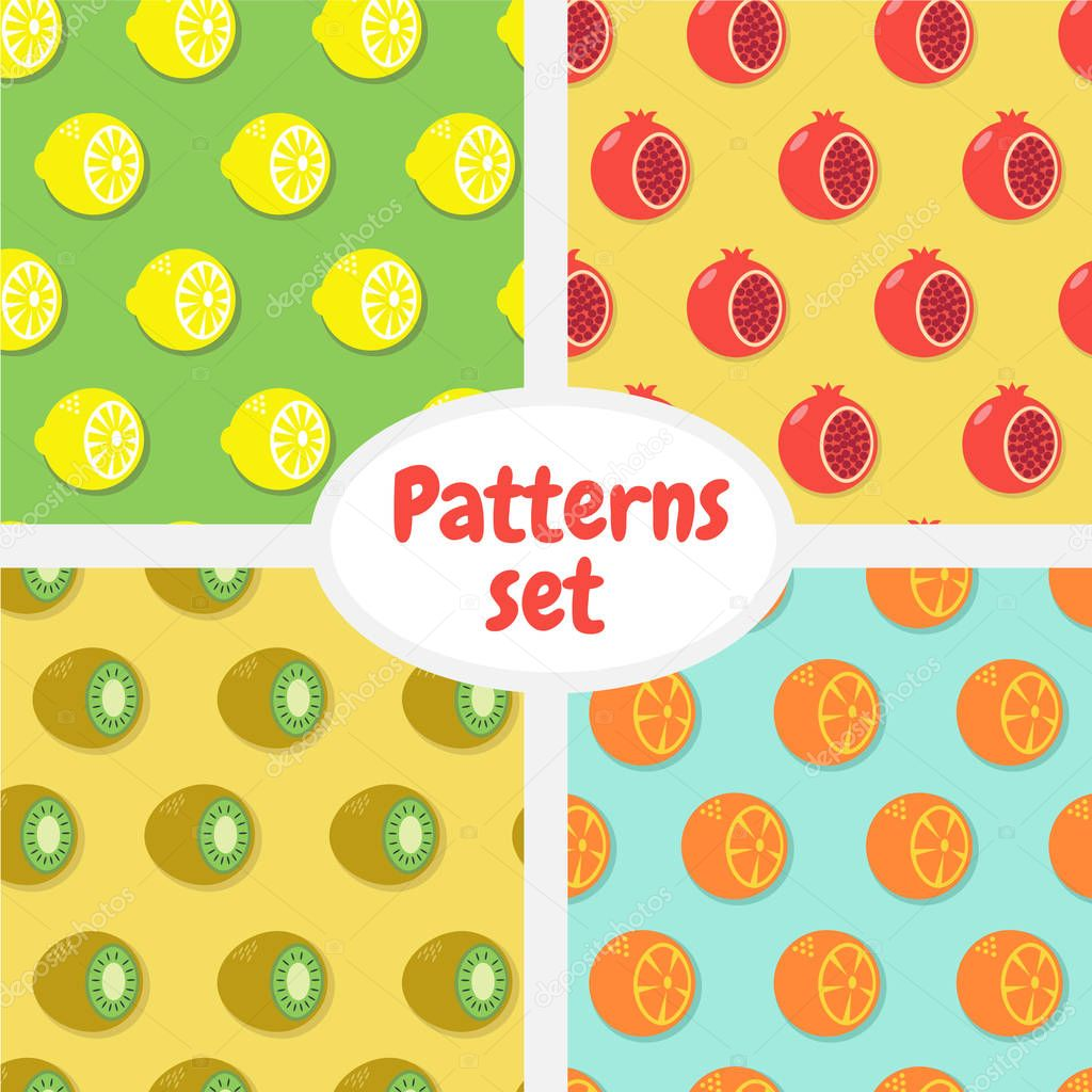 Patterns set. Pattern with half of pomegranate. Pattern with half of kiwi, pattern with half of lemon, pattern with half oforange