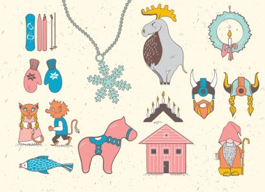 Set of attributes of the Scandinavian countries.Set with design elements of symbols of Sweden, Denmark, Iceland , Norway: moose, gnome, snowflake, skiing, snowboard, viking helmet, wooden house, mittens, red wooden horse, salmon, candle , troll