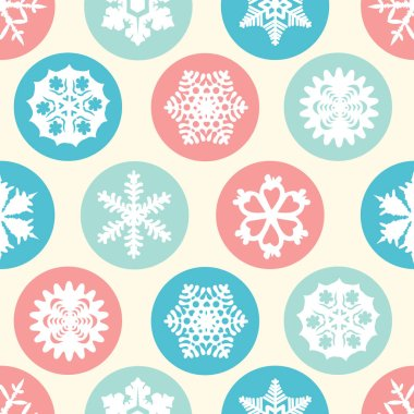 Seamless pattern of white snowflakes. Winter pattern