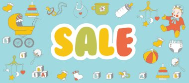 Selling children's products. Sale. Poster template for baby shop