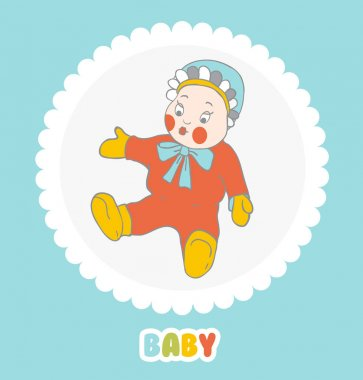 Baby doll in a cap with ruffles on  light background