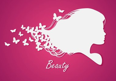 Silhouette head with hair and butterfly.Vector illustration of woman beauty salon clip art vector