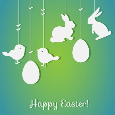 Easter background with eggs and rabbits.Perfect for  invitations