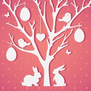 Easter paper decoration in the form of Easter tree with eggs and rabbits. Perfect for invitations, posters and easter cards